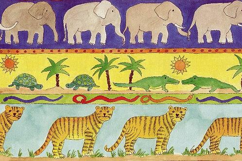 Carta con Elefanti e Tigri 50x70cm (cod. 1292)