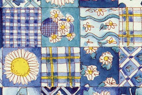 Carta Fiori su Quadri Azzurri 50x70cm (cod. 1124)