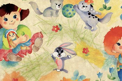 Carta con Bambini e Animali 50x70cm (cod.1084)