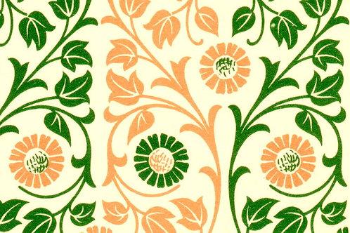 Carta Varese Fiorata Verde e Arancione 50x70cm (cod. 0121)