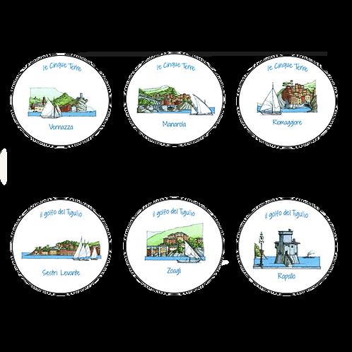 Sottobicchieri Le Cinque Terre e I Borghi di Mare (6x)