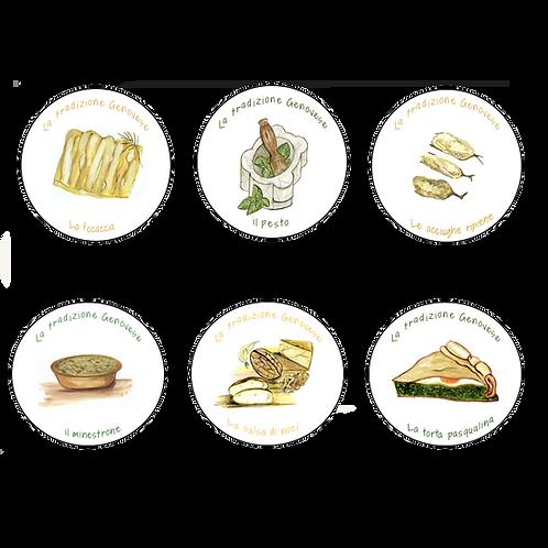 Sottobicchieri Le ricette Genovesi (6x)