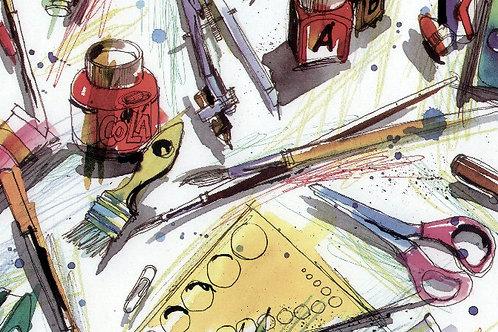 Carta con Pennelli e Tempere 50x70cm (cod.2045)