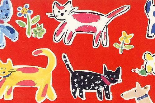 Carta Cani Gatti e Fiori 50x70cm (cod.5389)