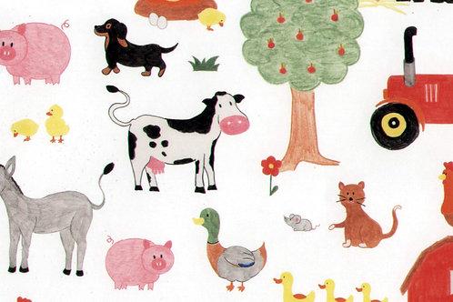 Carta con Animali Fattoria 50x70cm (cod.2127)