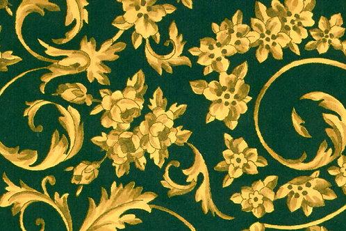 Carta Fiori Oro Sfondo Verde 50x70cm (cod. 0872)