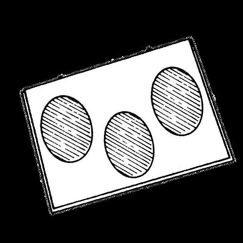 Pannello Portafoto a 3 foto ovali (24x33cm) da rivestire