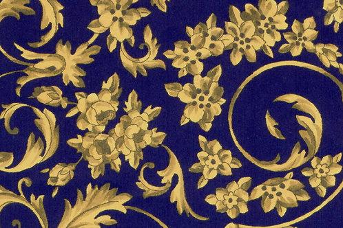 Carta Fiori Oro Fondo Blu 50x70cm (cod. 0870)
