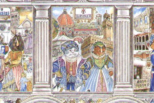 Carta con Disegno di Gatti a Firenze 50x70cm (cod.5756)