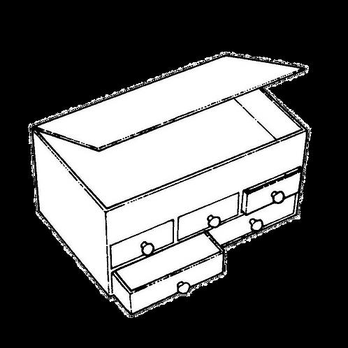 Cassettiera a 5 cassetti con ribaltina (17x26x14h) da rivestire