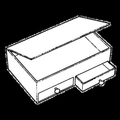 Cassettiera a 2 cassetti con ribaltina (14x23x9h) da rivestire