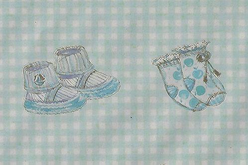 Carta con Scarpette Azzurre 50x70cm (cod.7150)