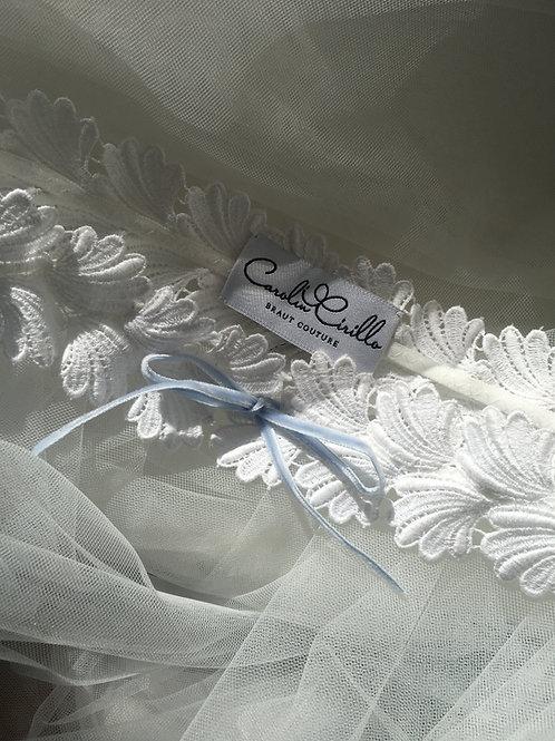 DARIA Strumpfband aus Guipure Spitze mit Samtband