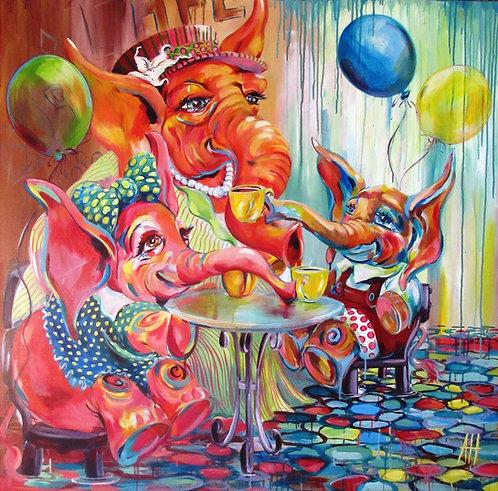 """ELEPHANT CAFÉ Original Acrylic Painting 48"""" x 48"""""""