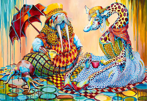 "Walrus & Giraffe at a Picnic, PRINT 9"" x 12"""