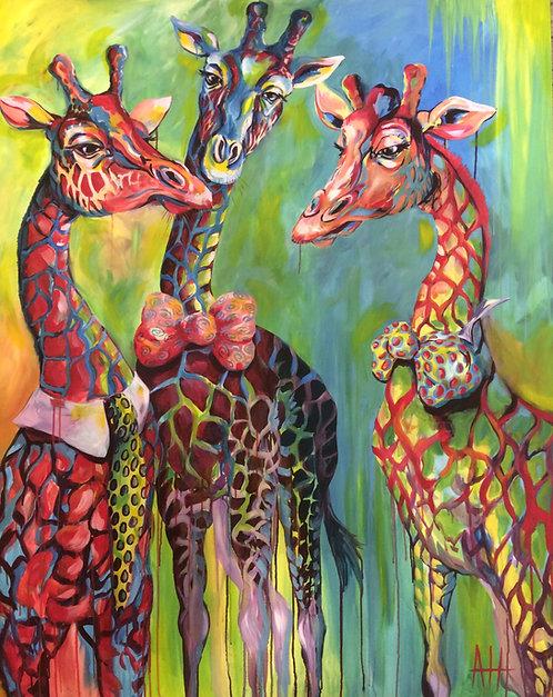 """Tres Giraffiti; PRINT 12"""" x 15""""(large)"""