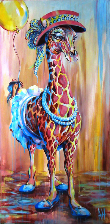 "Blue Ballet Shoes (Giraffe) 9"" x 18"" PRINT"