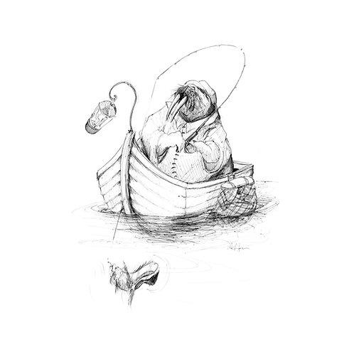 "Fishing Walrus PRINT 12"" x 12"""