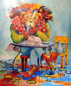 LION IN REPOSE Original Acrylic Pain