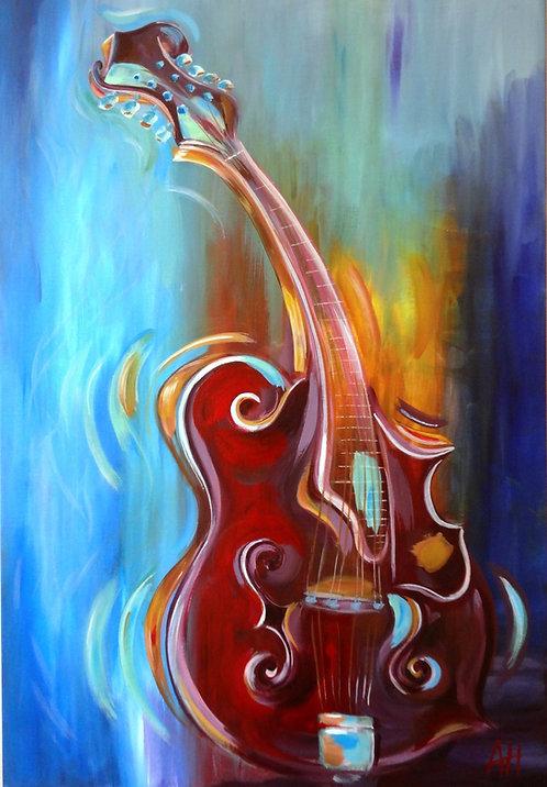 """Mandolin Abstract (Guitar) PRINT 12"""" x 18"""""""