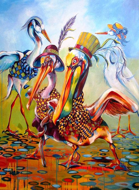 "PELICAN-TOED BEACH STROLL Original Acrylic Painting 36"" x 48"""