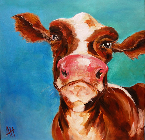 """How Now Brown Cow 14"""" x 14"""" PRINT"""