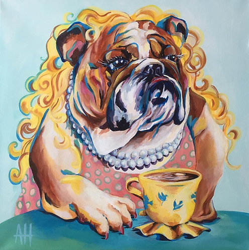 "BLOND BULLDOG PRINT 9"" x 9"" (small)"