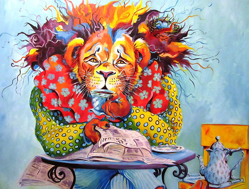 "LION IN REPOSE Original Acrylic Painting 48"" x 60"""