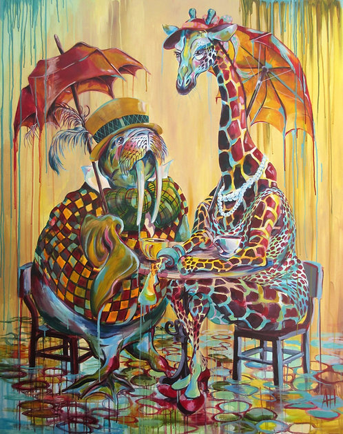 "Walrus & Giraffe at Tea, PRINT 12"" x 15"""