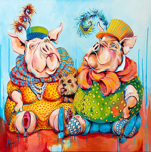 "TO CATCH A WILD PIG Original Acrylic Painting on Canvas (36"" x 36"" x 2"")"