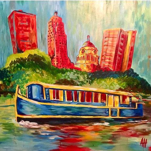"Fort Wayne Canal Boat PRINT 12"" x 12"" (medium)"