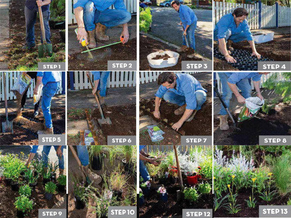 step by step images for creating verge garden