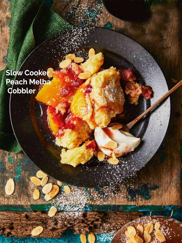 Slow Cooker Peach Melba Cobbler