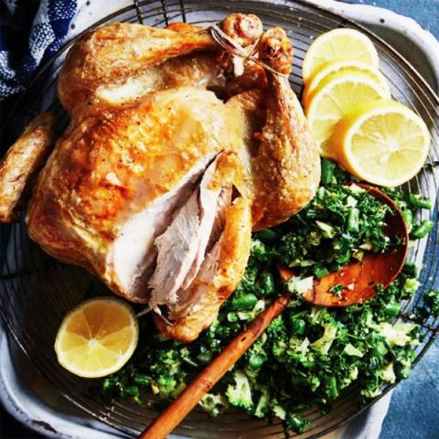 Drunken Chicken With Kibbled Greens