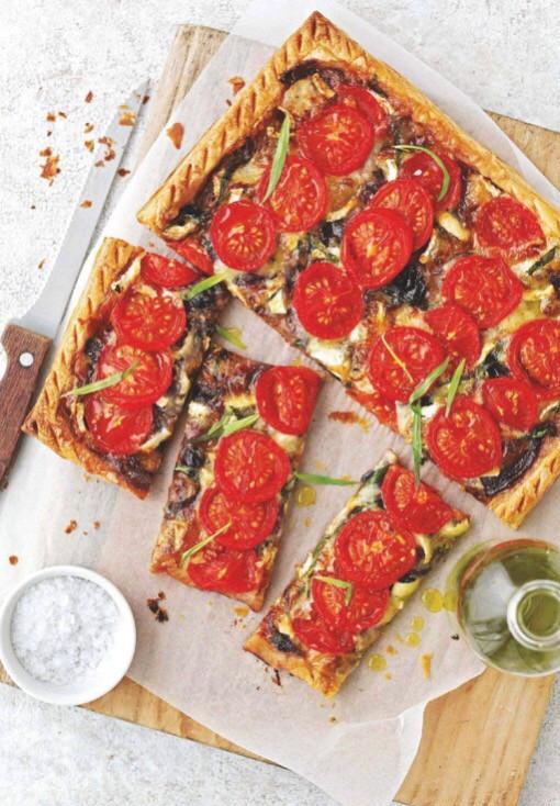 Brie, tomato & tarragon tart