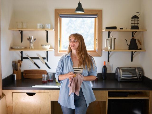Women happy with her Kitchen essentials