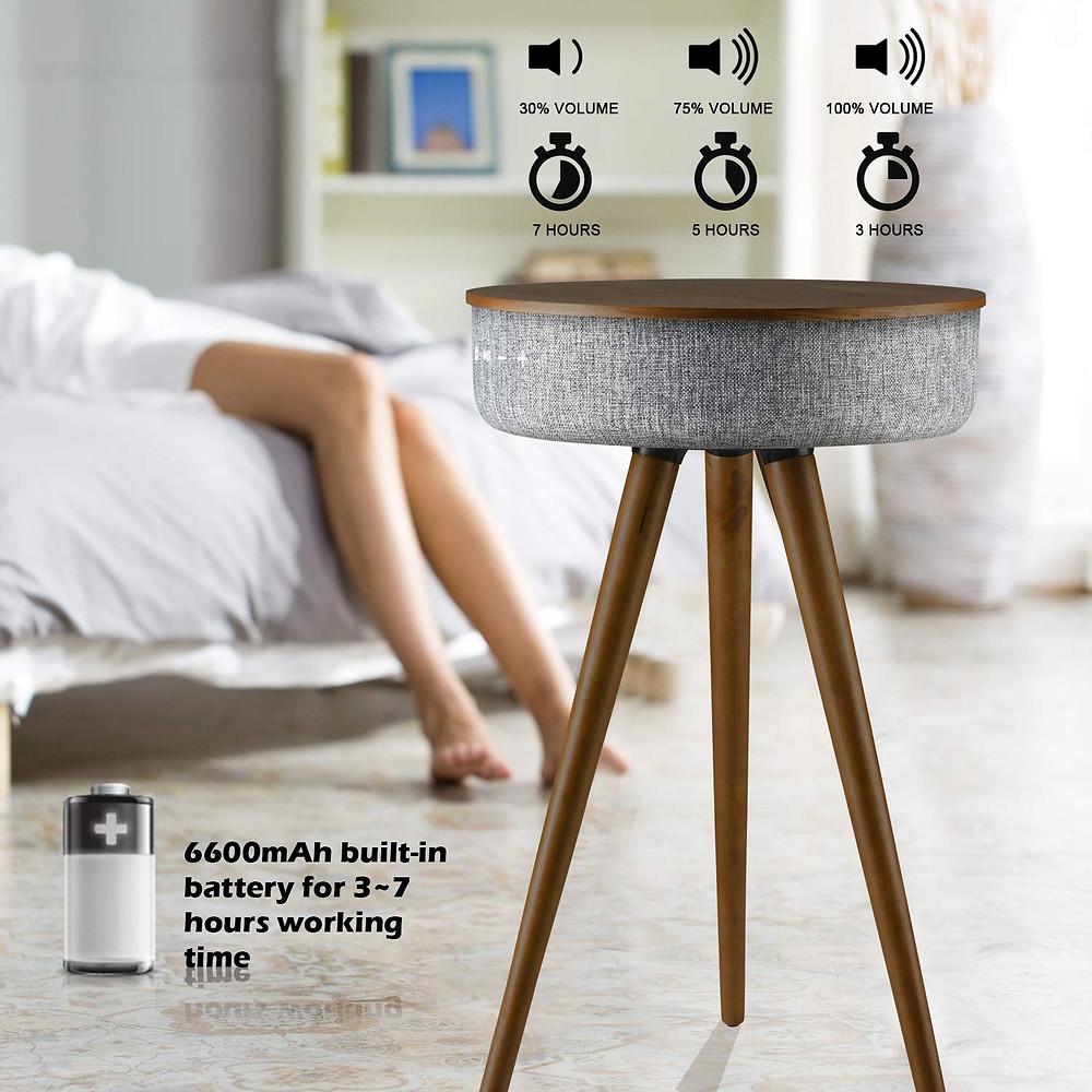 side table speaker, charger, usb