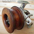 Seamartin vintage fishing reel rare model 2 Teflon Guide Block red cedar spool