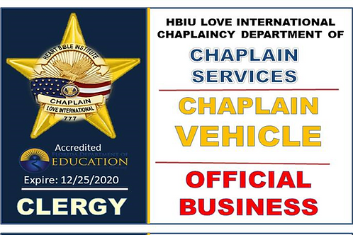 Chaplain Parking Sticker