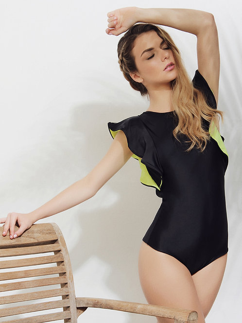 Lucero one piece black and neon swimsuit