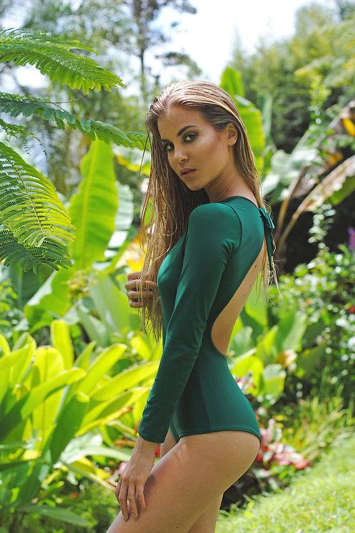 Long sleeve dark green one piece swimsuit