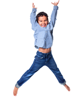 Boy jumping with ADHD