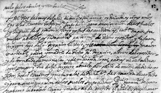Declaración de testigos en S. Martiño de Cerdido en la limpieza de sangre de Francisco López Piñón