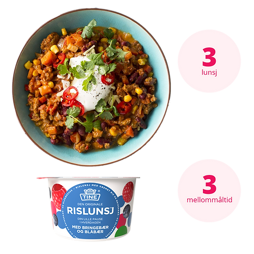 Kombipakke Kjøtt og fisk | 3 lunsjretter og 3 mellommåltider