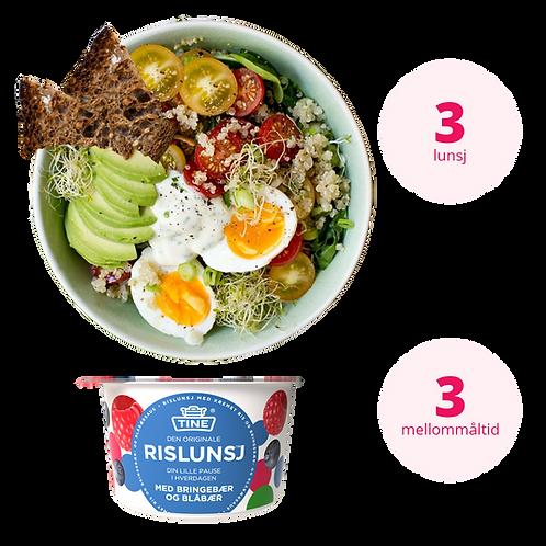 Kombipakke Vegetar | 3 lunsjretter og 3 mellommåltider | Illustrasjonsbilde