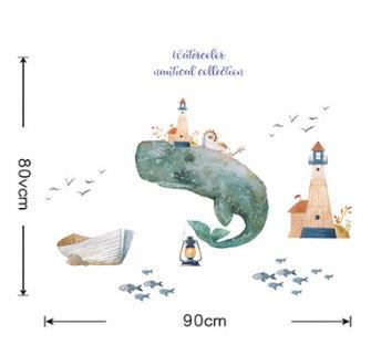 Autocollant mural baleine bleue