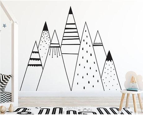 Autocollant mural Montagne tribal XL