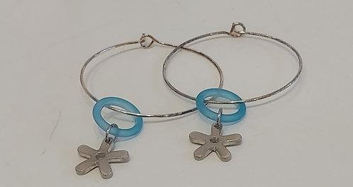 Blue Loop & Stars Drop Earrings (EC138)