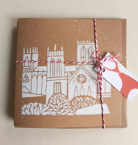 Pack of 3 Handmade Snowy Minster Cards