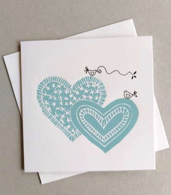 Blue Hearts Linocut Card